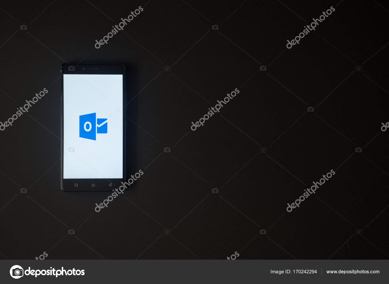 Microsoft Office Outlook Logo On Smartphone Screen On Black