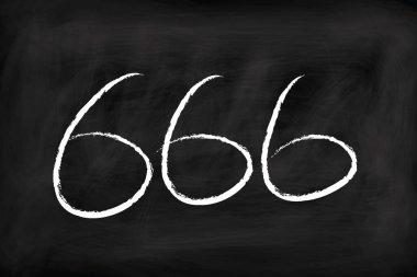 666 satan symbol handwritten on chalkboard