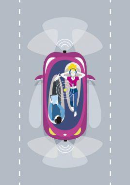 Driverless Car Top Wiew