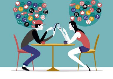 Millennial Couple and Network Icons