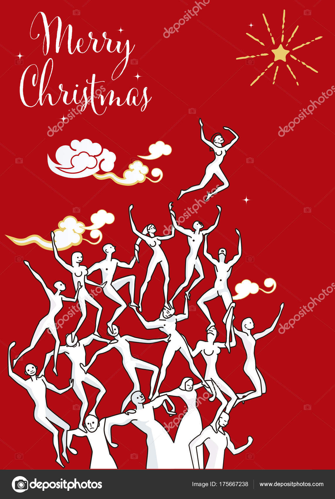 Human Tower Wishes Christmas Card — Stock Vector © Jesussanz
