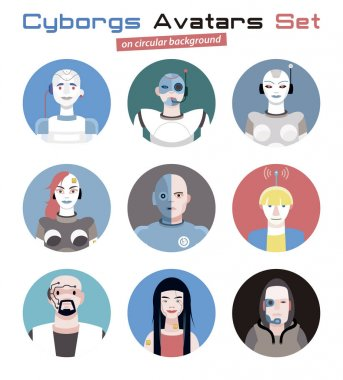 Cyborgs Avatars Set Circular