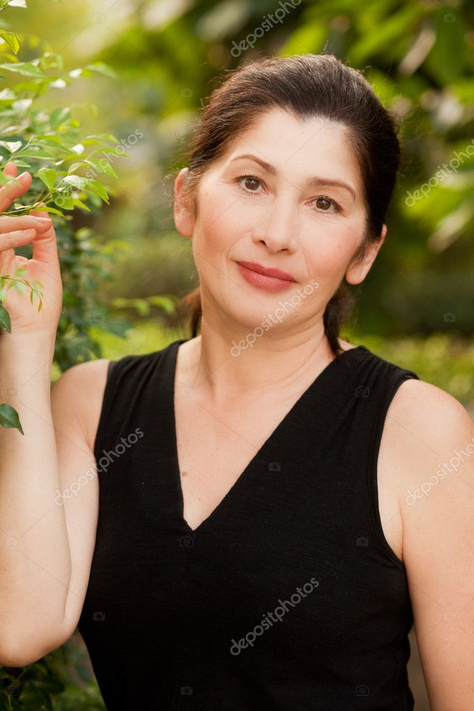 Woman aged in nature