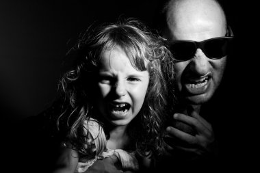 Father and daughter in gang style