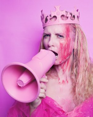 Pink princess with megaphone