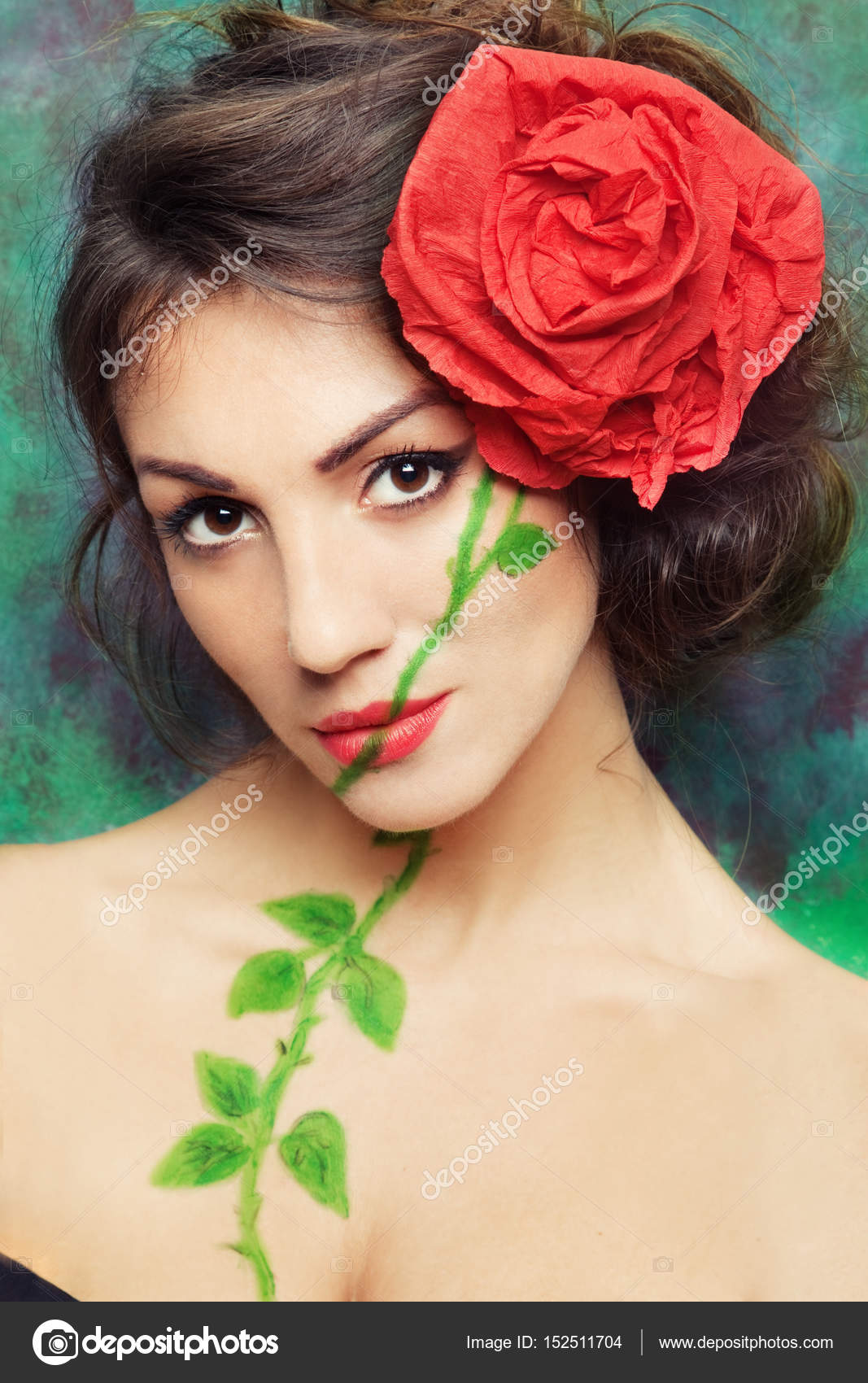 Woman With Red Rose In Hair Stock Photo Radarani 152511704