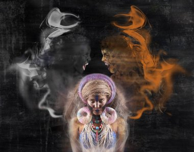 voodoo woman with spirits over head