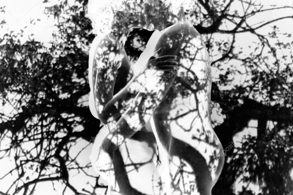 Transparent contours of hugging man and woman