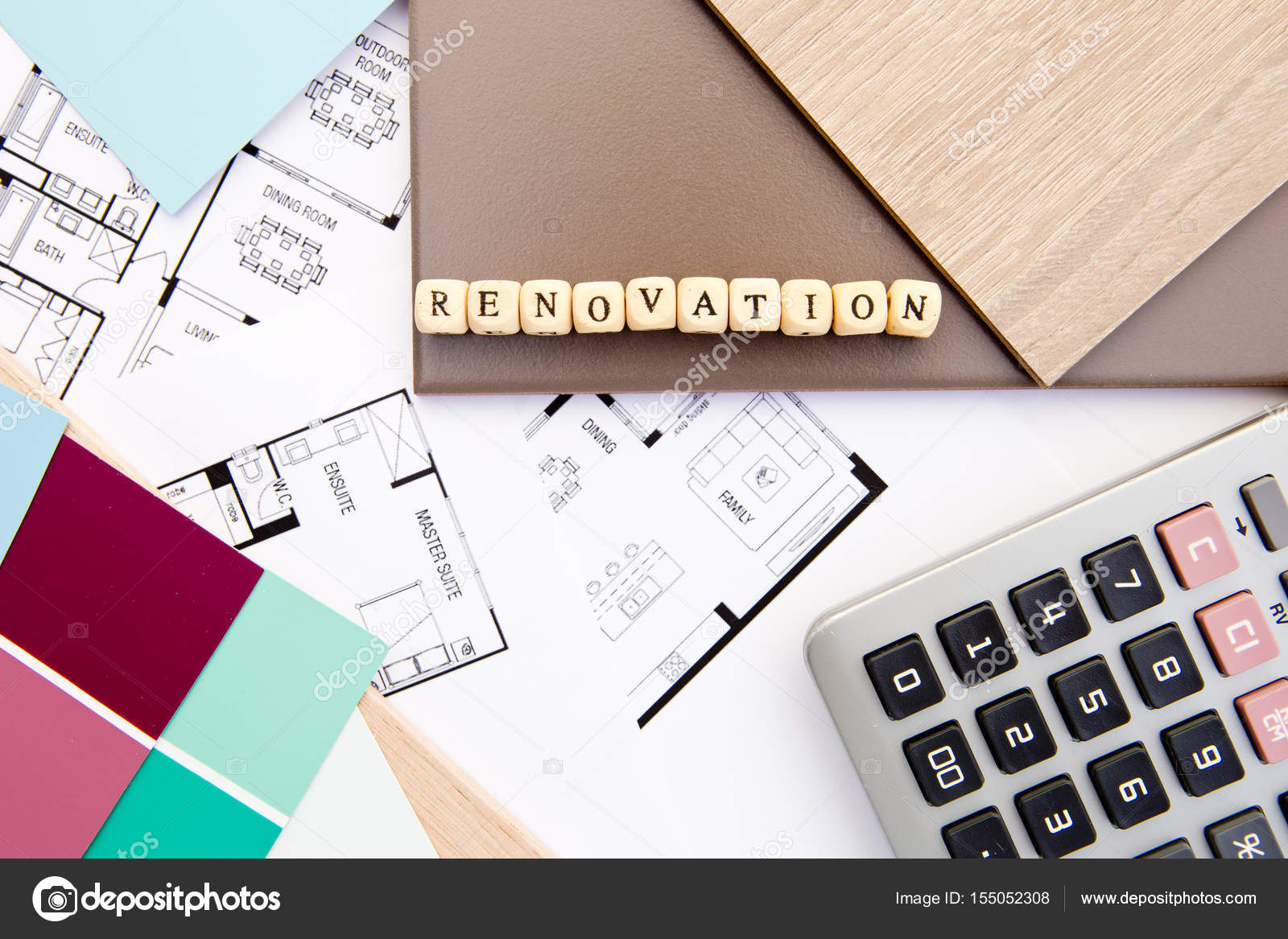 renovation in block letters with house drawings samples and