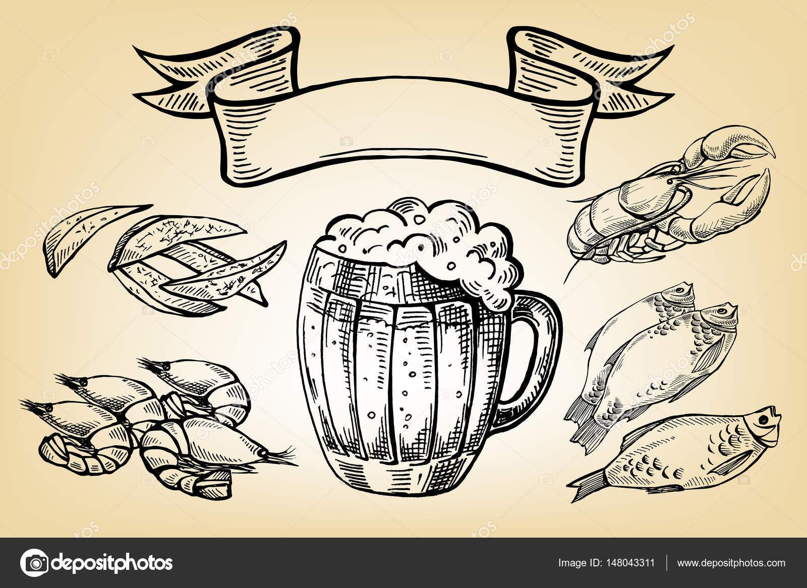 Kupa Bira Balık ıstakoz Cips Ve Kurdele Simgesi Stok Vektör