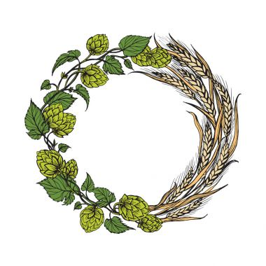 a wreath of ears of wheat and hops