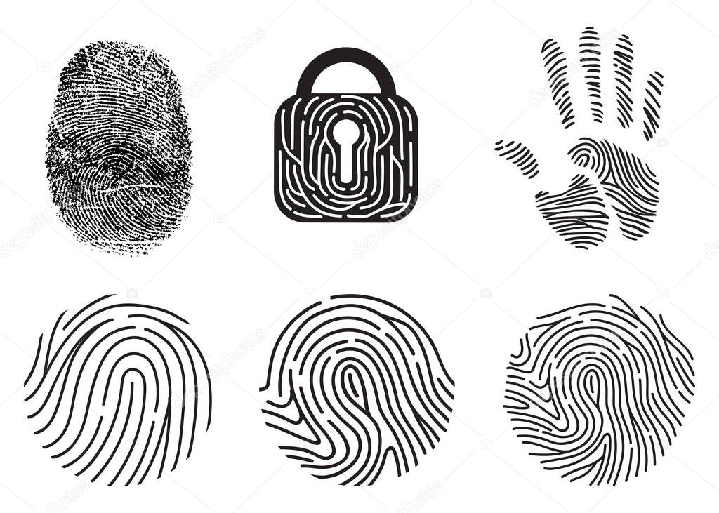 Set of fingerprint vector flat line icons.