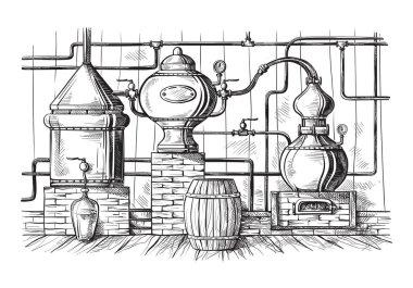 Alembic still for making alcohol inside distillery, destilling spirits sketch stock vector