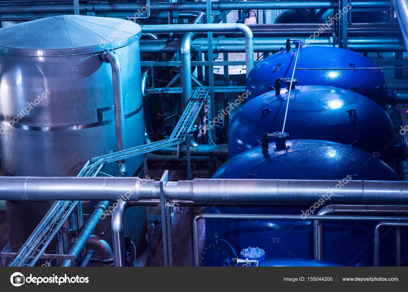 Modern beer plant brewery , with brewing kettles, vessels, tubs and ...
