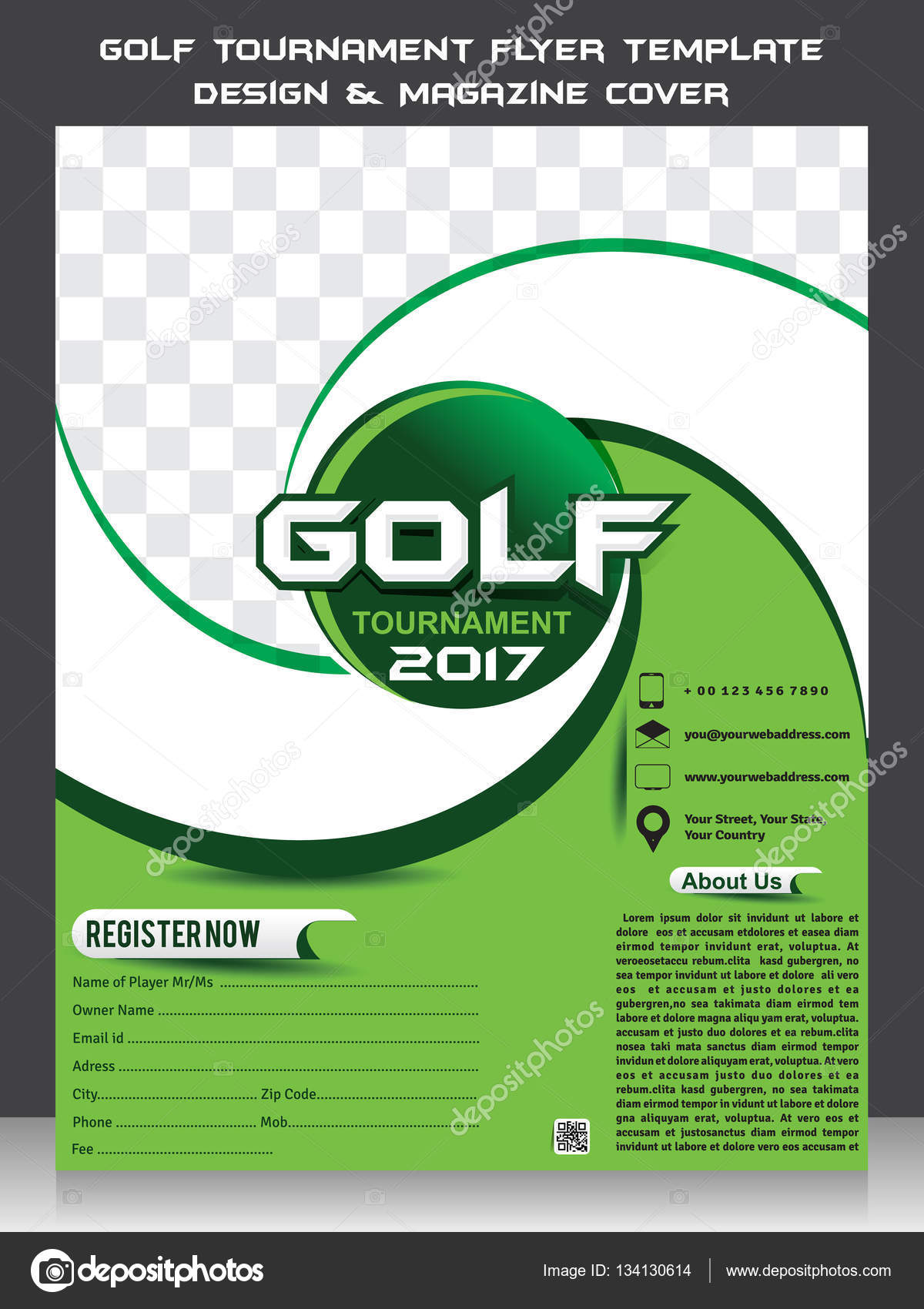 Golf Tournament Flyer Template Design Magazine Cover Stock