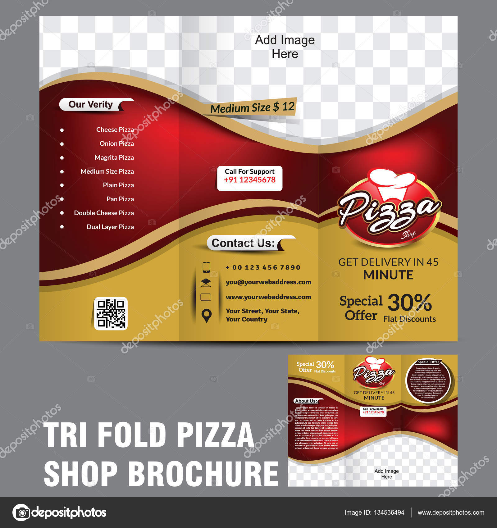 tri fold pizza brochure template stock vector gurukripa 134536494
