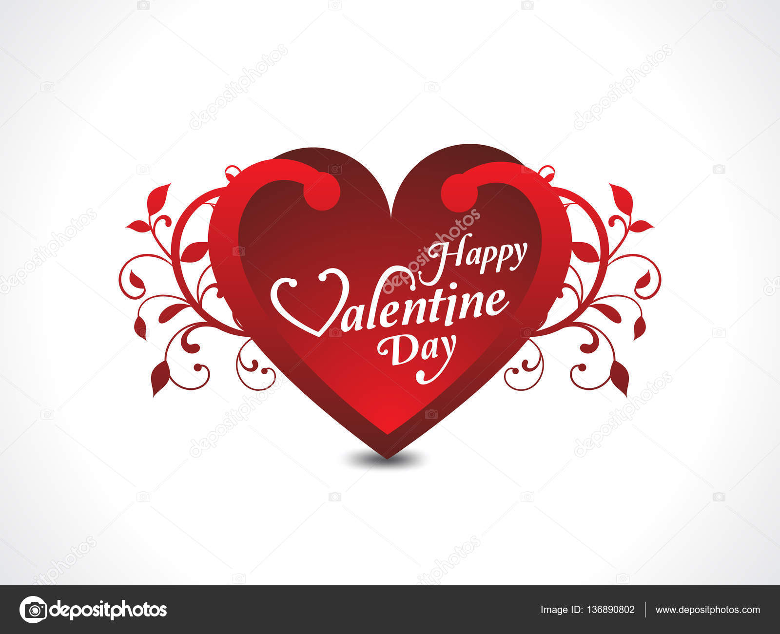 happy Valentines day text & Heart Shape Design Template Wtih flo ...