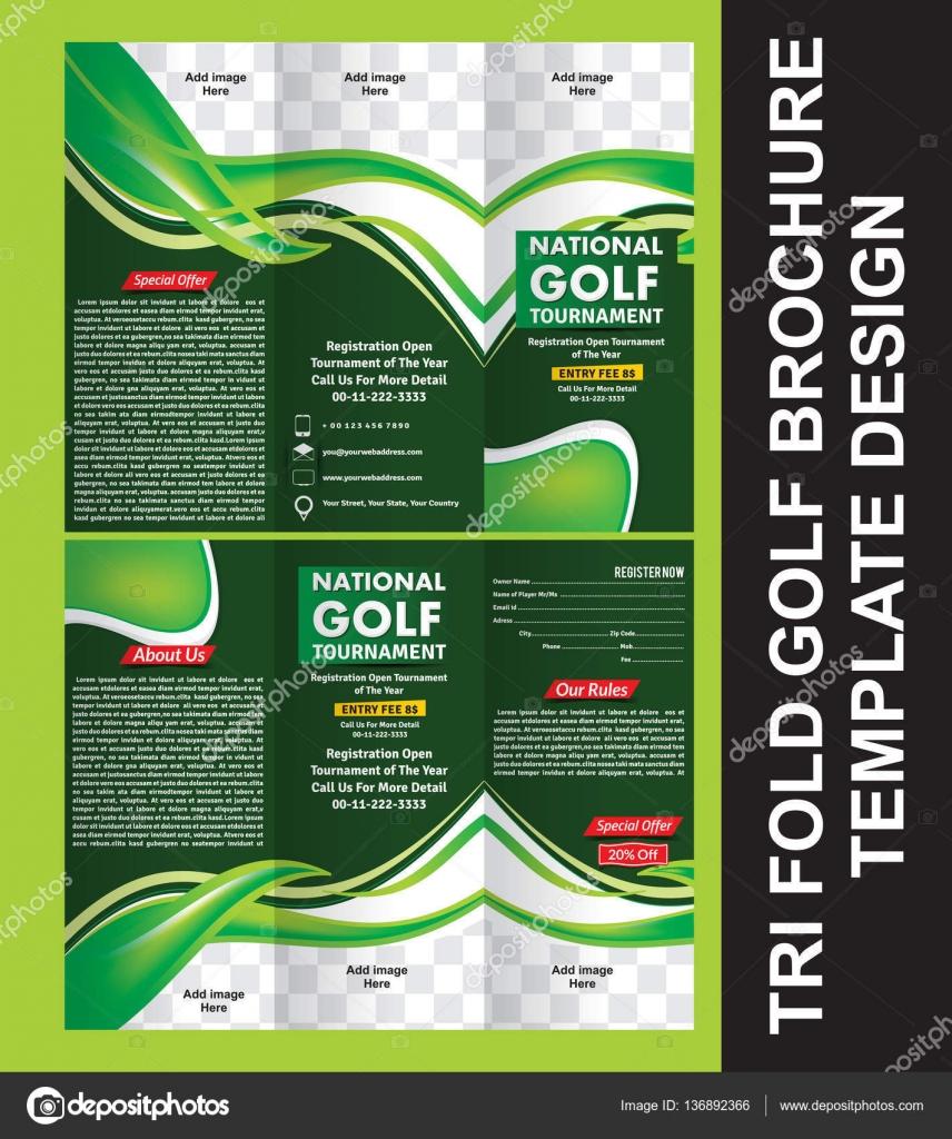 Tri Fold Golf Brochure Template Stock Vector Gurukripa 136892366
