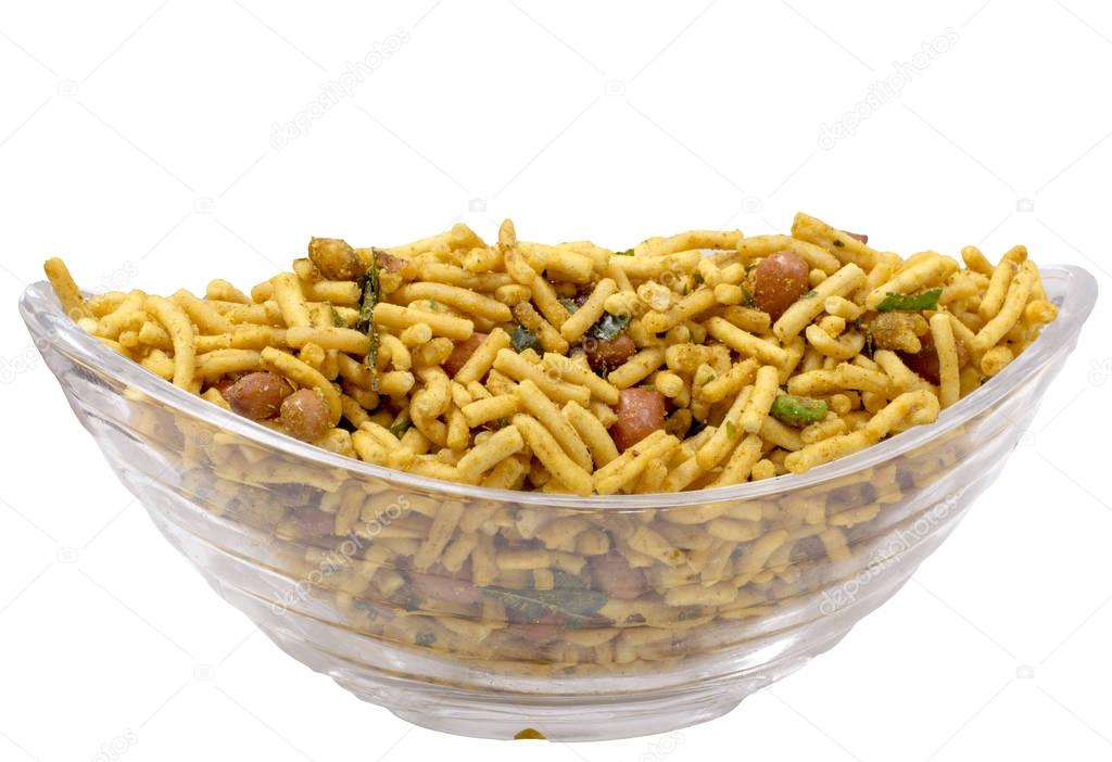 Isolated besan lehsuniya,south indian namkeen in bowl
