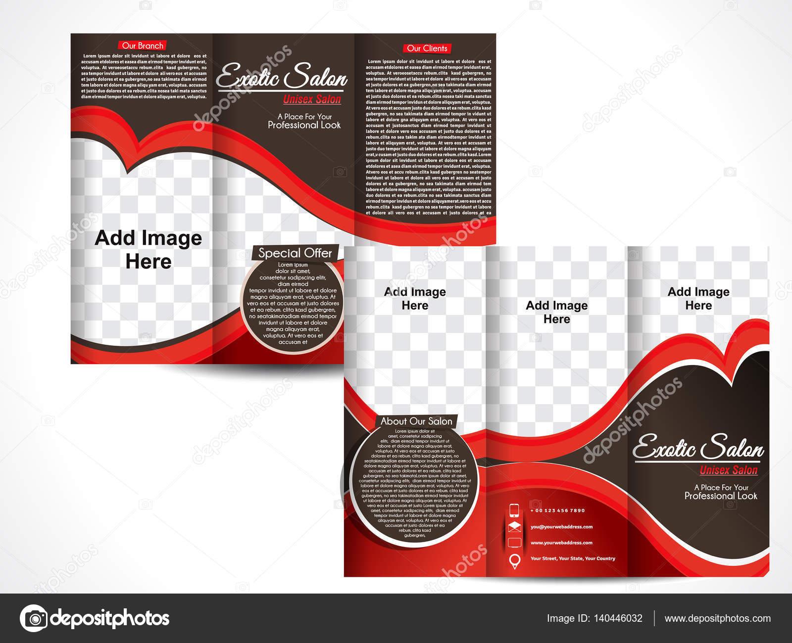 Tri-Fold exotische Salon Broschüre Template Design — Stockvektor ...