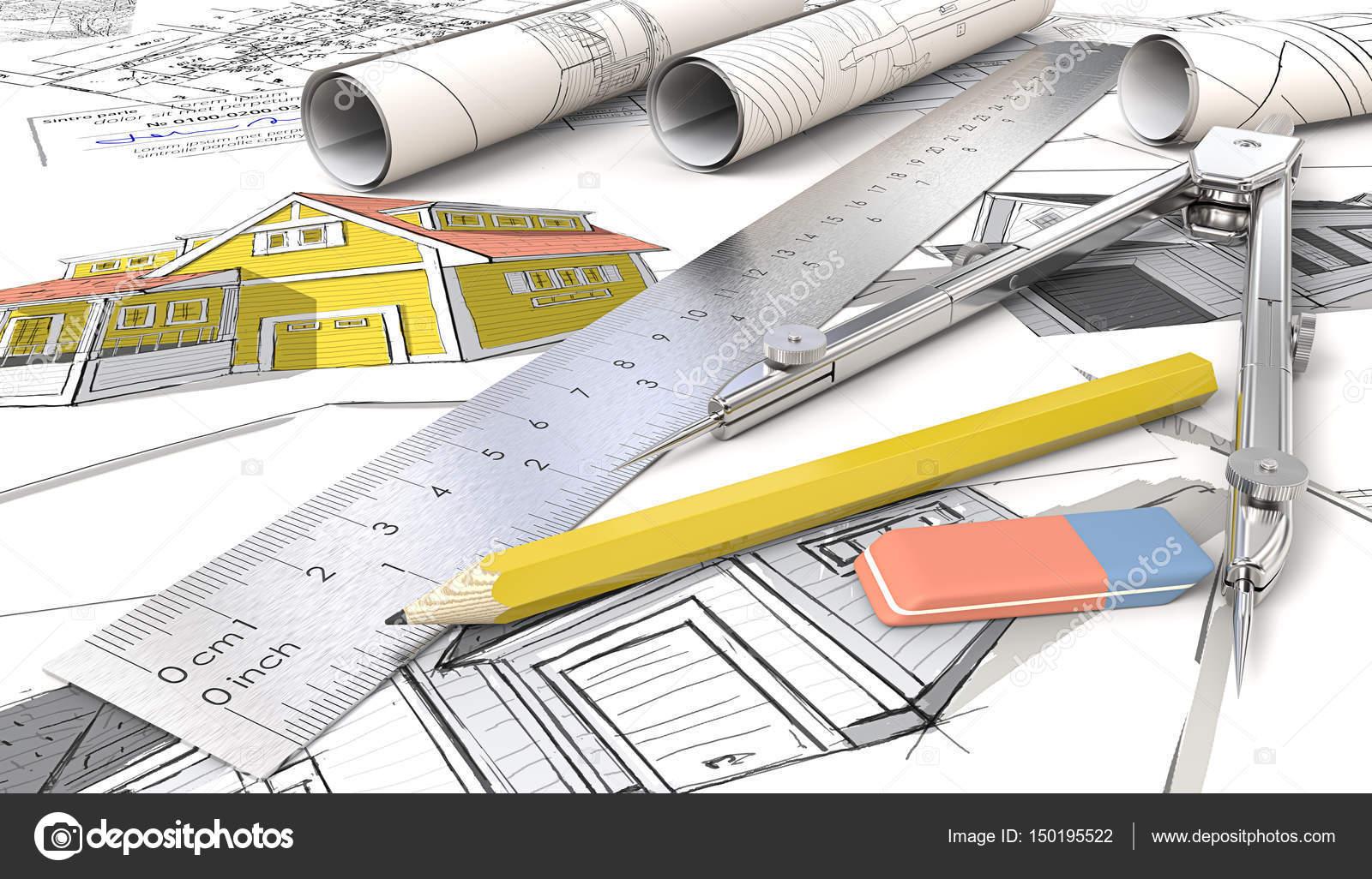 Gelbe Thema Haus Architekturskizzen Brotchen Lineal Bleistift Radiergummi Und Teiler Aus Metall 3D Render Foto Von JohanH