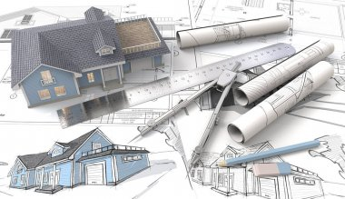 3D House on Design Sketches and Blueprints.