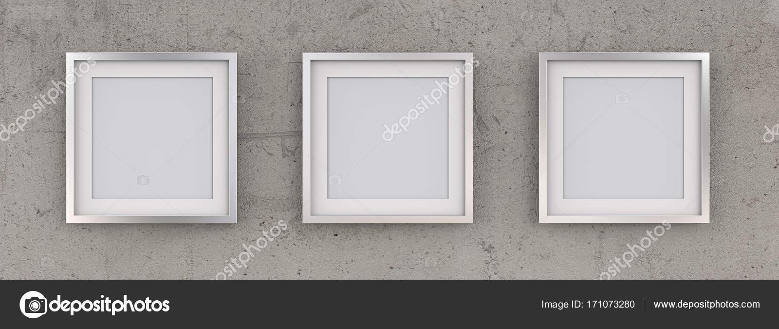 3 quadratische Bilderrahmen Metall auf rauen Beton Wand — Stockfoto ...