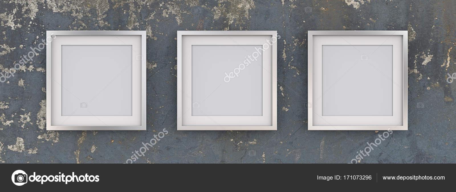 3 Marcos cuadrados de Metal en la pared azul gastado — Fotos de ...