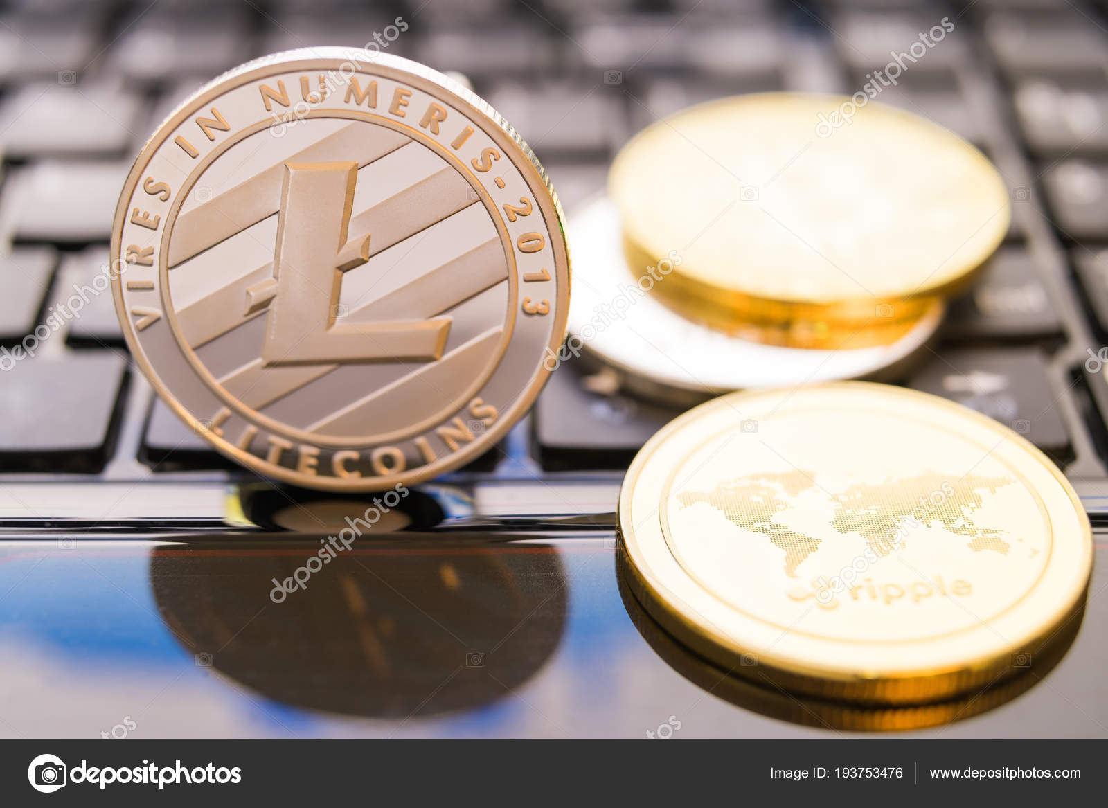 Cryptocurrency coins - Litecoin, Bitcoin, Ethereum, Ripple