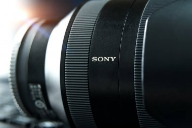 SHANGHAI, CHINA - APR 2018: the Sony A7 RII mirrorless lens. Optical Steady Shot of Sony camera made with macro lens for editorial propose