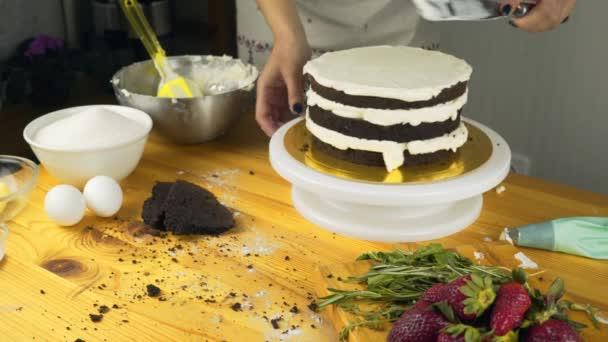 Detail z těsta pokryté másla krém čokoládový piškot. Čokoládové dorty pro dort. Smetana v těstíčku taška. Čokoládový piškotový dort ze dvou dortů. Čokoládový dort pro dovolenou.