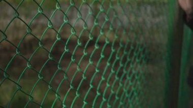 Hand holding wire mesh fence,woman hand with wire mesh close up.