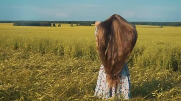 Ősszel lány élvezi természet a pályán. Szépség lány a szabadban emeli kezét a napfény sugarak. Gyönyörű tizenéves lány fut a pályán, nap fény fehér ruhában. Ragyogás növekvõ ingyenes boldog nő