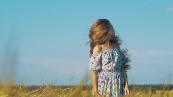 Schönheit romantisches Mädchen im Freien. schöne Teenager-Modell Mädchen in legerem kurzen Kleid auf dem Feld im Sonnenlicht. pusten lange Haare. Herbst. Glühende Sonne, Sonnenschein. Gegenlicht. in warmen Farben getönt