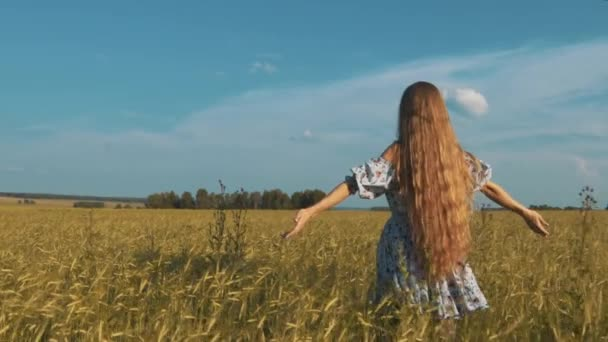 Beauty Girl Outdoors enjoying nature. Beautiful Teenage Model girl in dress running on the Spring Field, Raising hands in Sun Light.