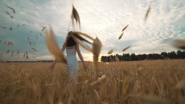 On a sunny day, a woman is walking along a wheat field with a white dress on a nature background Concept lifestyle ecology environment happy people freedom, wonderfully beautiful view