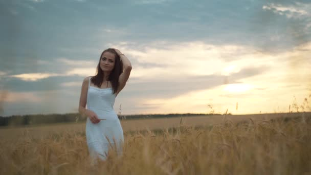 Portrait of a young woman with long hair in white dress standing in the field of wheat and looking into the camera