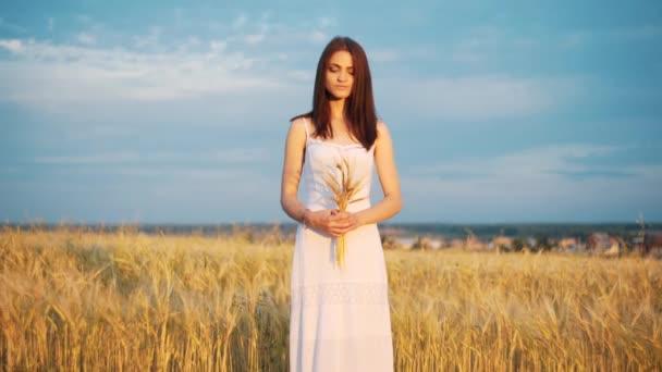 krásná žena s klas pšenice v západu slunce smyslné portrét slunečního záření v létě večer pole. atmosférické okamžik. den země. elegantní boho dívka v louce. láska k zemi