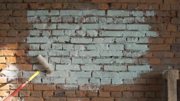 zdi z červených cihel, stínované bílý válec malovat. místo pro logo