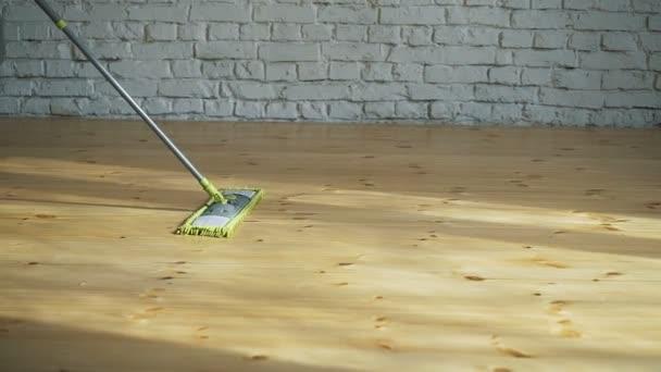 Glückliche Frau Reinigung Hause, singen bei mop wie am Mikrofon und Spaß, Raum kopieren. Hausarbeit, Hausarbeit-Konzept
