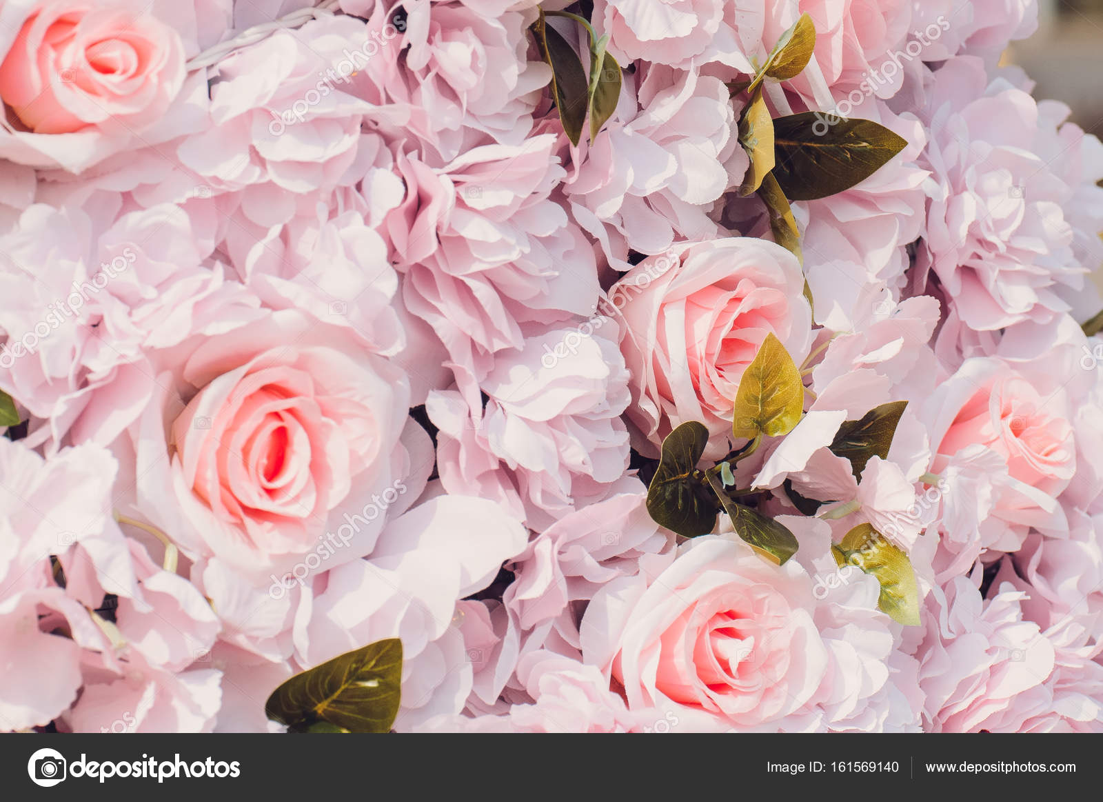 Pink Fake Flowers Roses Background Close Up Texture Toned