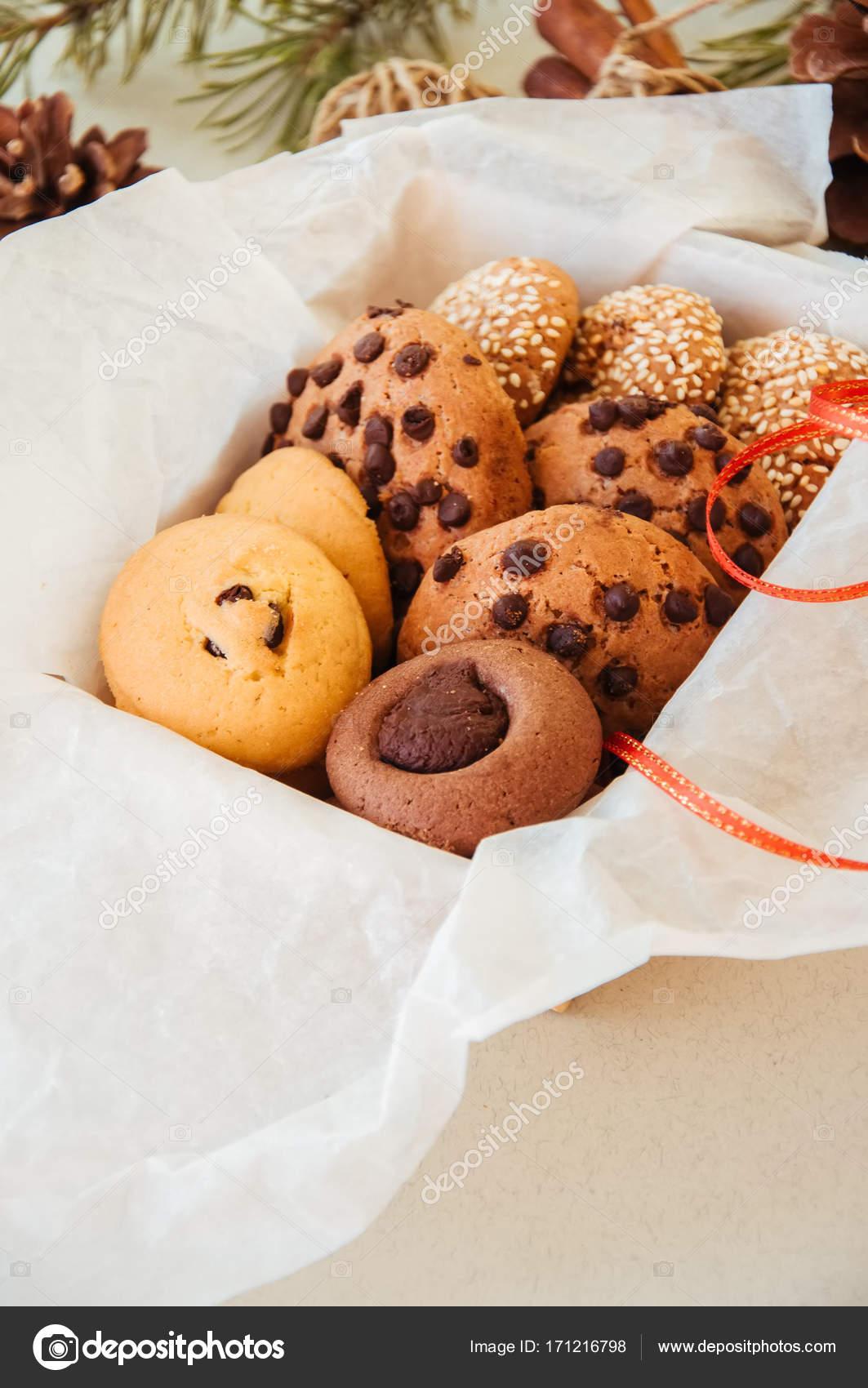 Christmas cookies gift box. Homemade festive baking concept, fir ...
