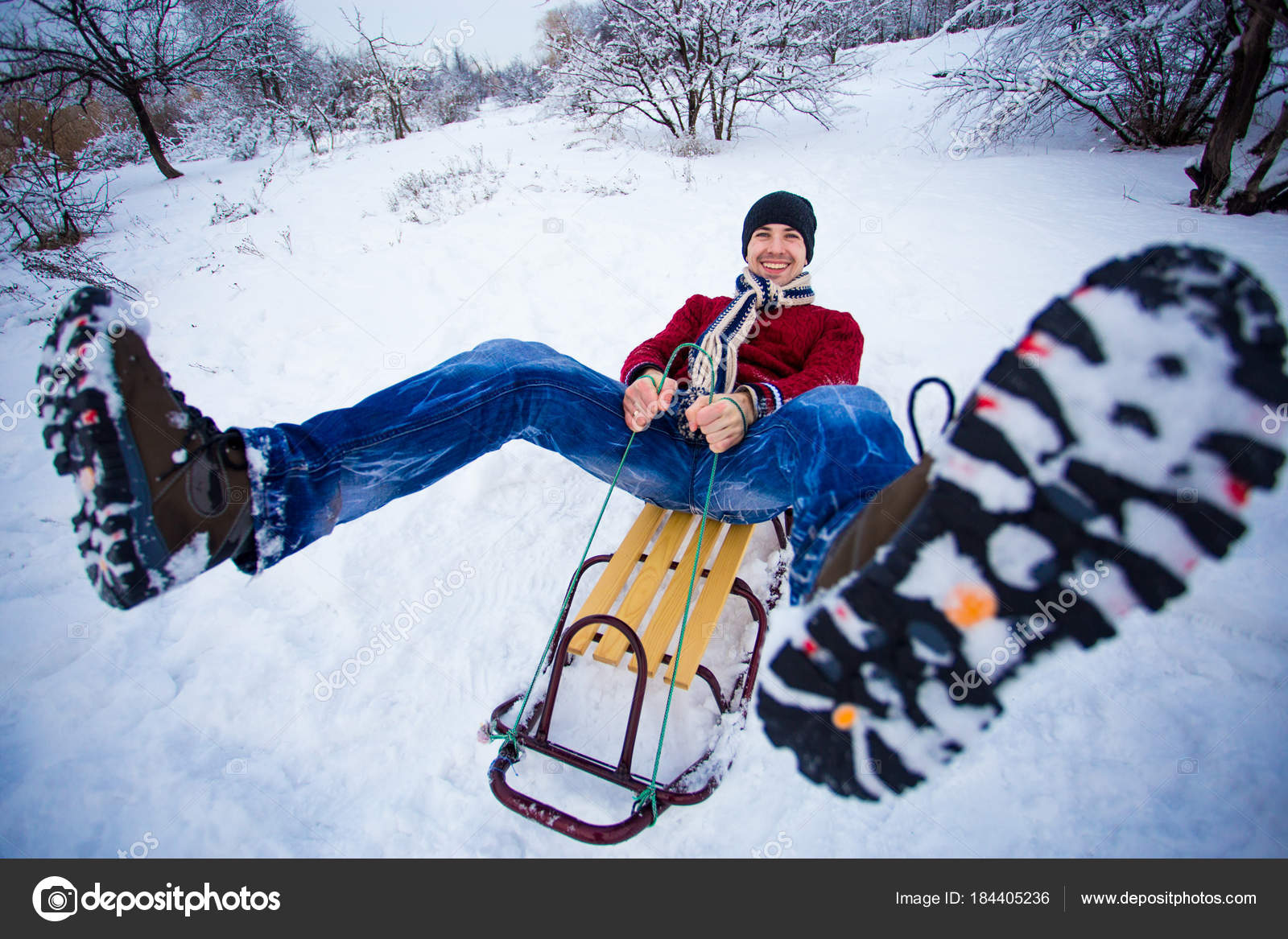 Crazy Man Enjoy Sleigh Ride Man Sledding Funny Man Play Stock
