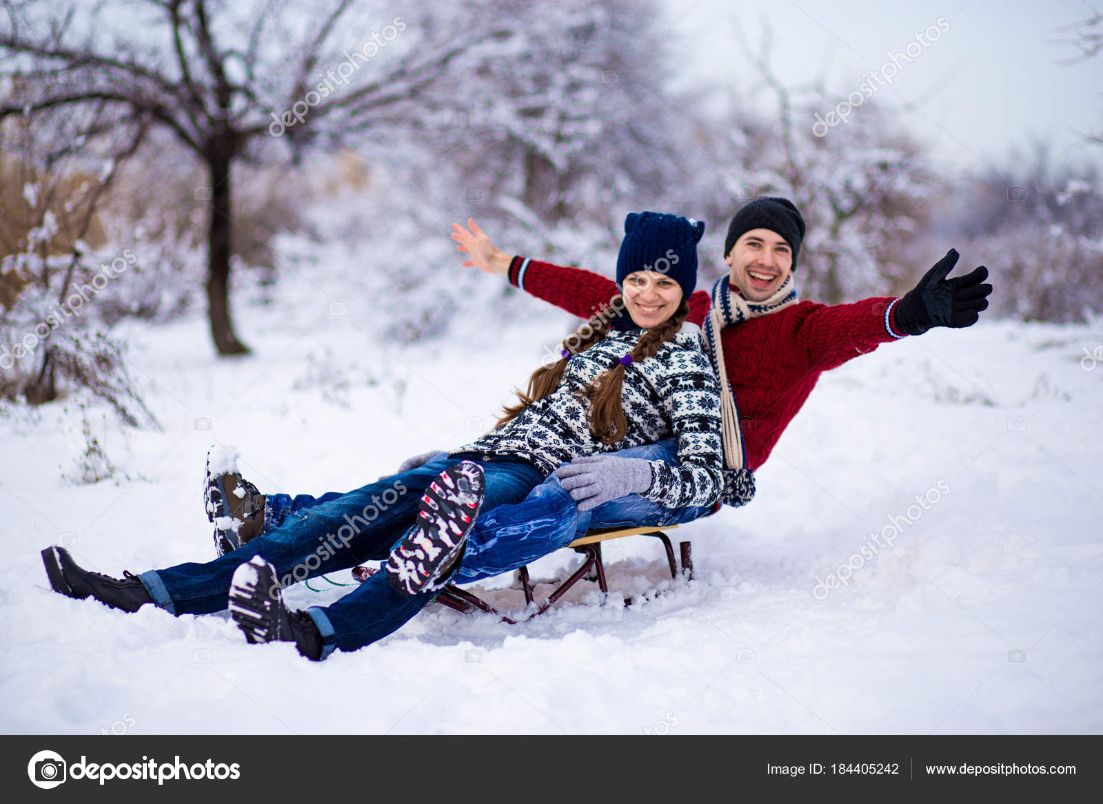 Lovely Couple Enjoy Sleigh Ride Lovely Couple Sledding Funny Couple