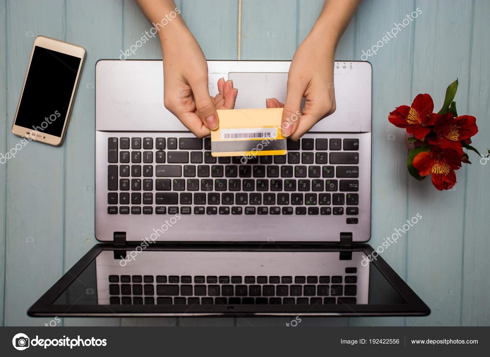 Woman Transfer Money Holds Debit Credit Card Smartphone Laptop Home ...