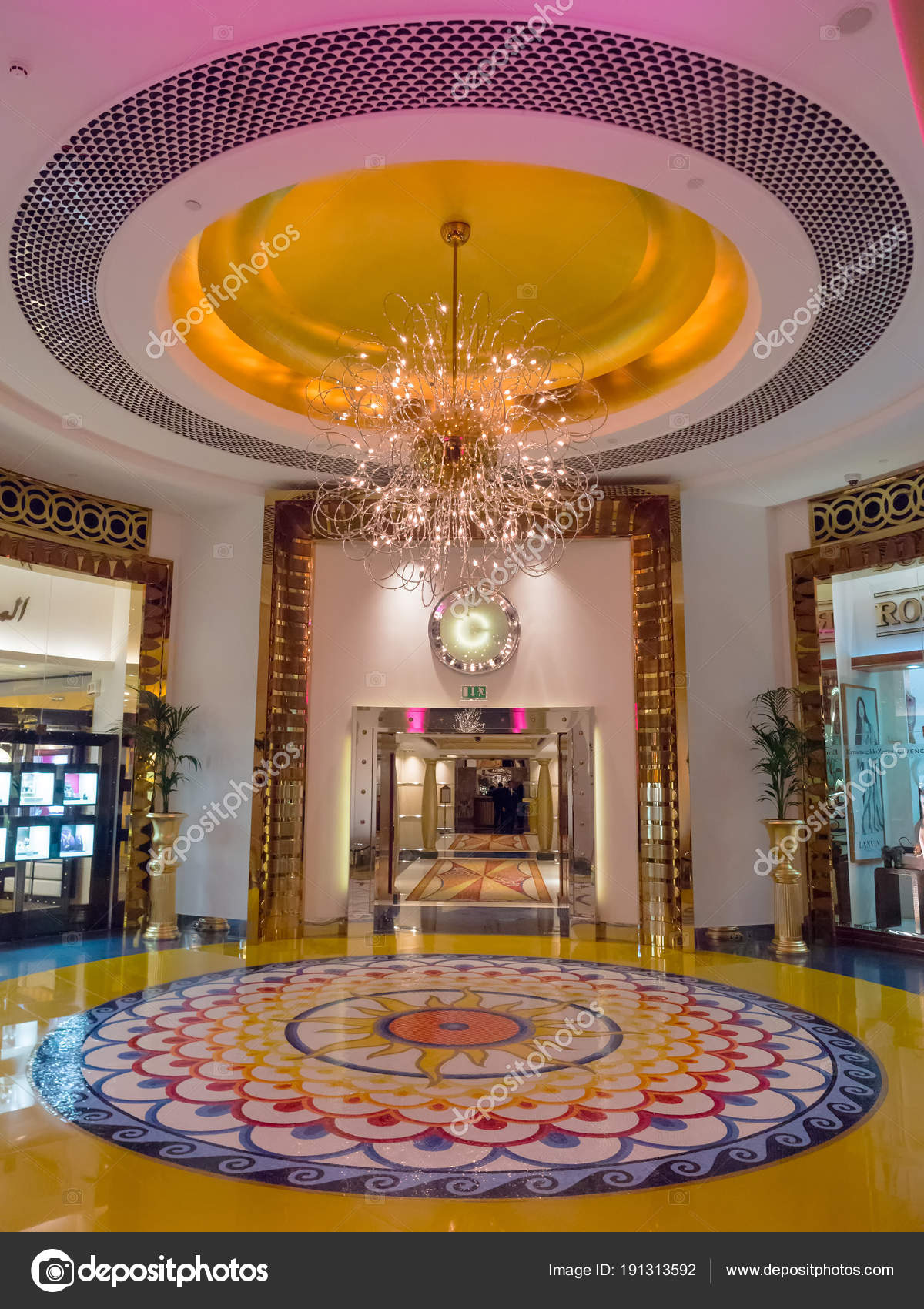 The interior of the burj al arab hotel stock photo