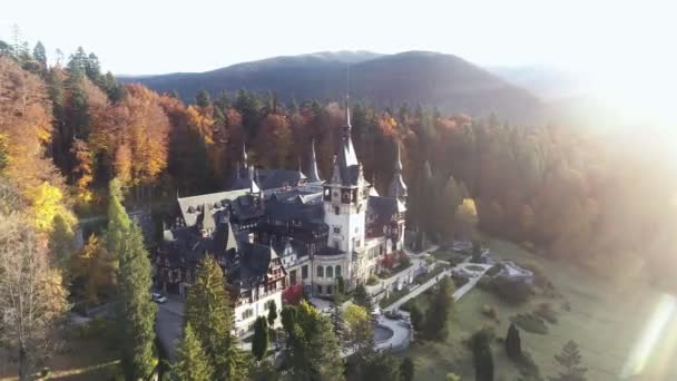 Aero shooting panorama Castle Peles