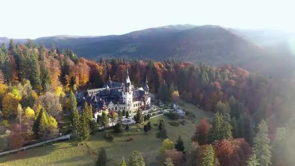 Beautiful autumn panorama of the castle Peles, Romania
