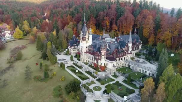 Autumn panorama of the Peles Castle, top view