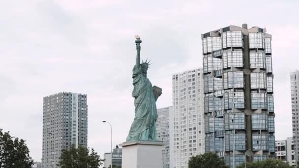 Statue of Liberty view on the river Seine in Paris from ship